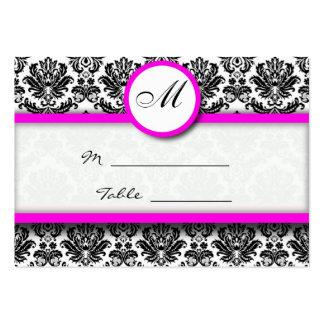 Carte rose et noire d'endroit de damassé carte de visite grand format
