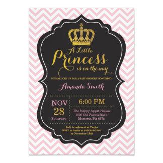 Carte Rose et or d'invitation de princesse baby shower