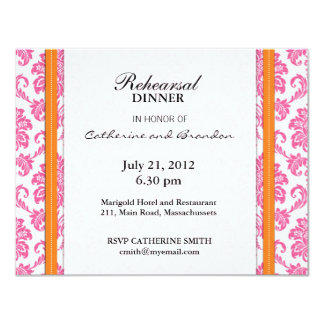 Carte rose et orange de damassé de répétition de carton d'invitation 10,79 cm x 13,97 cm