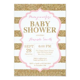 Carte Rose et parties scintillantes d'invitation de baby