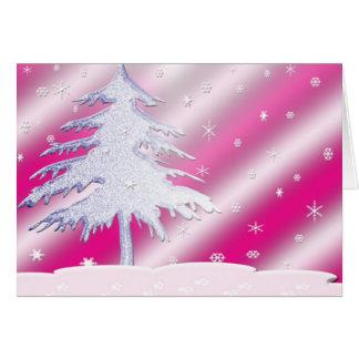 Carte rose et pourpre d'arbre de Noël