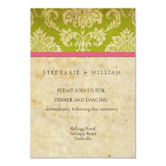 Carte rose et verte vintage de réception de carton d'invitation 8,89 cm x 12,70 cm