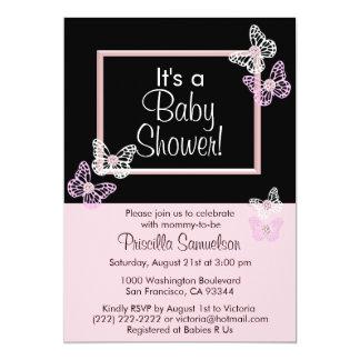 Carte rose faite sur commande d'invitations de carton d'invitation  12,7 cm x 17,78 cm