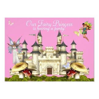 Carte rose féerique d'invitation de château de princesse