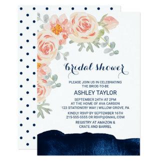 Carte Rose floral de pêche et douche nuptiale