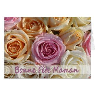 Carte rose française du jour de mère