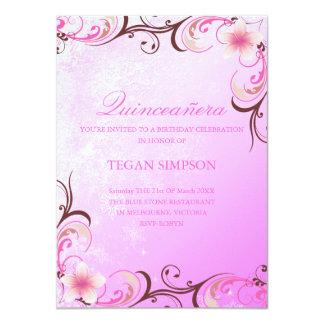 Carte Rose/invitation d'anniversaire de Quinceañera