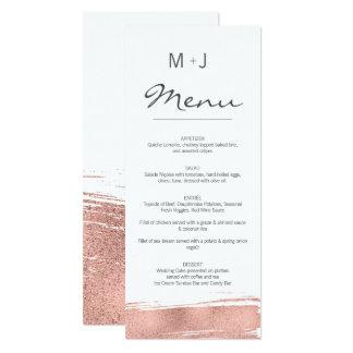 Carte rose moderne de menu de mariage de traçage