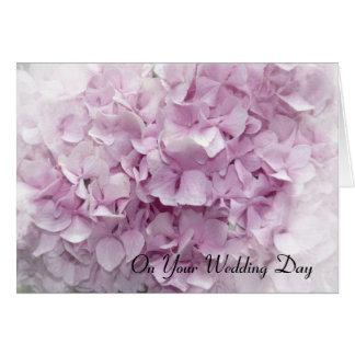 Carte rose molle de jour du mariage d'hortensia