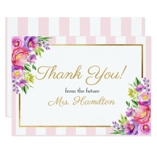 Carte Rose nuptiale et or de Merci de douche floraux