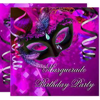 Carte Rose pourpre de masque de partie de mascarade