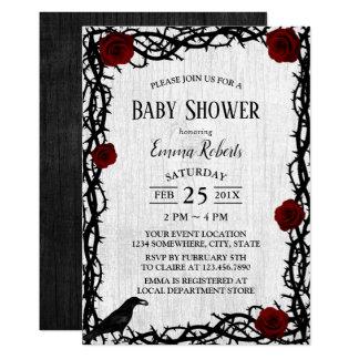 Carte Rose rouge de baby shower de Fairtale et bois