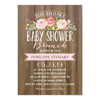 Carte Rose rustique d'invitation de baby shower du baby
