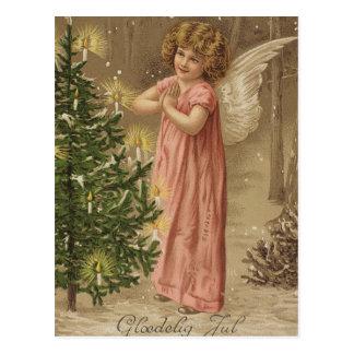 Carte rose vintage colorée d'ange de Noël