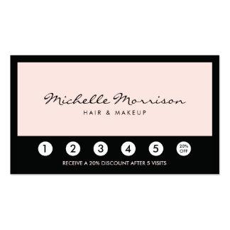 Carte rose vintage de fidélité de maquillage et de carte de visite standard