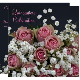 Carte Roses et bouquet Quinceañera de Gypsophila