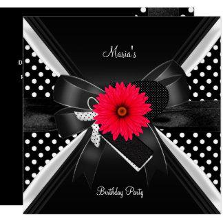 Carte Rouge blanc de noir de point de polka de tache de