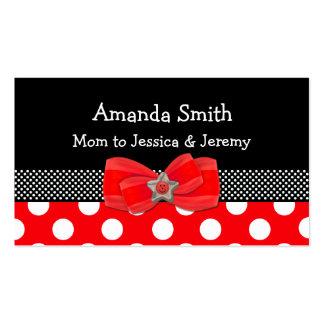 Carte rouge, blanche, et noire de maman de point carte de visite standard