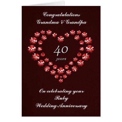 Carte rouge d 39 anniversaire de mariage 40 ans zazzle - Anniversaire de mariage 8 ans ...