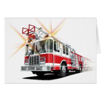 Carte rouge de camion de pompiers d'enfants