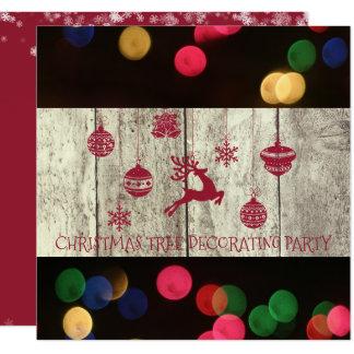 Carte Rouge de décoration Bokeh de partie d'arbre de