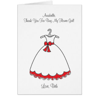 Carte rouge de demoiselle de honneur de robe