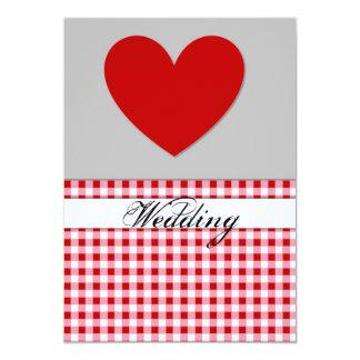 Carte rouge de faire-part de mariage de coeur de