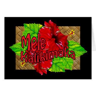 Carte rouge de Mele Kalikimaka de ketmie