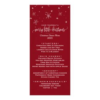 Carte rouge de menu de dîner de Noël de flocon de
