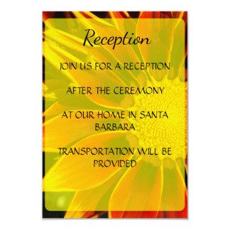 Carte rouge de réception de mariage de tournesol carton d'invitation 8,89 cm x 12,70 cm