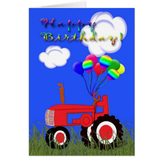 Carte rouge de tracteur de joyeux anniversaire