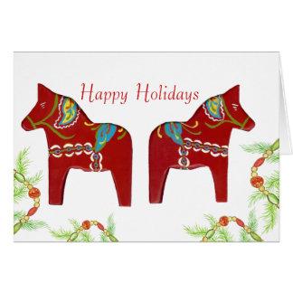 Carte rouge de vacances de chevaux de Dala