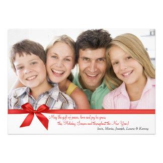 Carte rouge de vacances de photo de rectangle invitations personnalisées