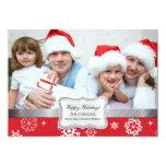 Carte rouge et blanche de vacances de photo de carton d'invitation  12,7 cm x 17,78 cm