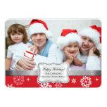 Carte rouge et blanche de vacances de photo de invitation personnalisée