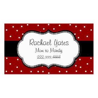 Carte rouge et blanche élégante de maman de point carte de visite standard