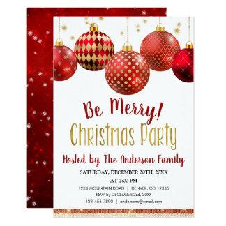 Carte Rouge et dîner de vacances de Noël d'ornement d'or