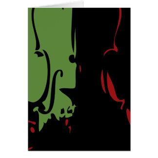 Carte rouge et verte de vacances de violon