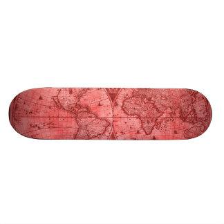 Carte rouge J Blaeu 1664 du monde d'antiquité de Skateboard 20,6 Cm