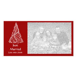 Carte Rouge marié rouge d'arbre de Noël juste
