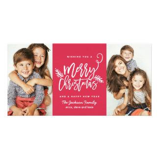 Carte Rouge moderne des vacances 2-Photo de Noël de