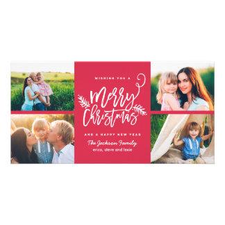Carte Rouge moderne des vacances 4-Photo de Noël de