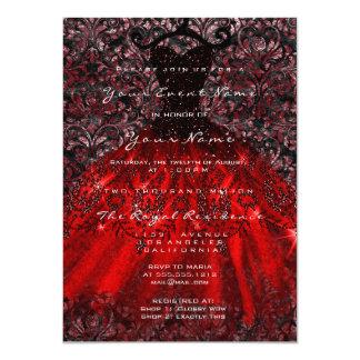 Carte Rouge nuptiale gothique Blac de damassé de velours