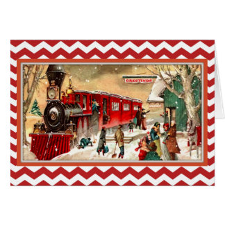Carte rouge vintage de train de Noël