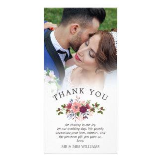 Carte Rougissent et la photo de Merci de mariage de