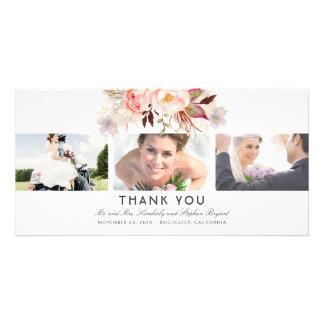 Carte Rougissent la photo florale rose de Merci de