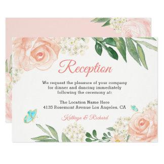 Carte Rougissent la réception de mariage de fleurs de