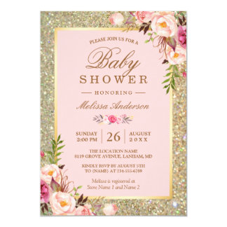 Carte Rougissent le baby shower floral rose d'étincelles
