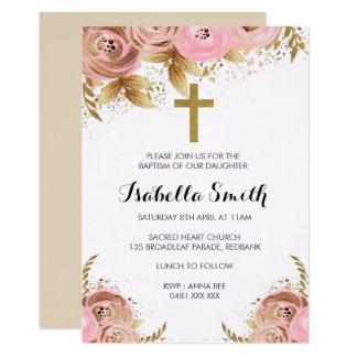 Carte Rougissent le baptême d'or/invitation floraux de
