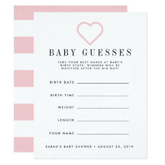 Carte Rougissent le jeu de devinettes rose de baby